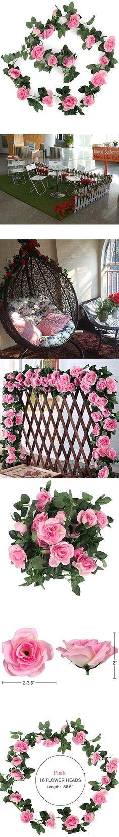 Luyue Vintage Artificial Silk Rose Flower Ivy Vine Leaf Garland Hanging Vine Wedding Home Indoor/Outdoor Decor (2 Pcs) (Pink)