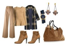 """""""Lovely combination"""" by subvilli on Polyvore featuring Tory Burch, Michel Vivien, MaxMara, Neiman Marcus, Mark & Graham, navy, beige, coat and polyvorefashion"""