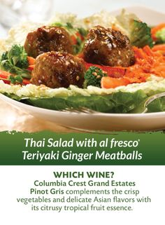 Our Thai Salad with Ginger Teriyaki Chicken Meatballs pairs perfectly ...