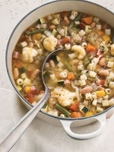 Italian Minestrone ~ There are countless ways to make minestrone, but all successful versions use fresh vegetables, good extra-virgin olive oil, and authentic Parmigiano-Reggiano cheese.