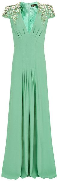 JENNY PACKHAM ENGLAND Embellished Shoulder Gown - Lyst ~ why not wear green - perhaps it will bring good luck?