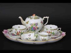 Porcelain tea-set from the Herend porcelain works in Herend, Central Hungary