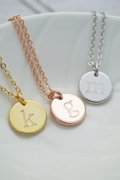 Hand Stamped Initial Necklace From EarringsNation Round Disc Bridesmaid Gift Wedding Ideas Christmas Rose