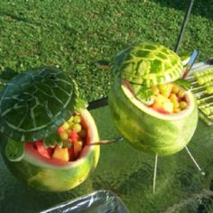 My friend Kristie Hepler shared this awesome craved turtle watermelon