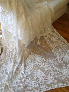 The most amazing antique lace in curtains, more available at Vintageblessings.com