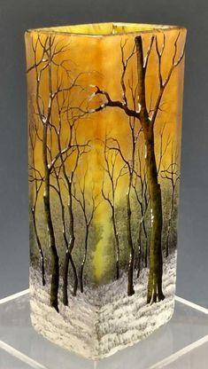 Daum Winter scenic vase, J. Levine l Philip Chasen Antiques Painted Glass Bottles, Glass Bottle Crafts, Wine Bottle Art, Painted Vases, Painted Wine Glasses, Bottle Vase, Decorated Bottles, Fused Glass Art, Stained Glass Art