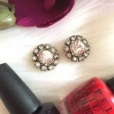 """‼️SALE‼️Orig $22 J. Crew Crystals Button Earrings Faux gold tone plating Glass stones Post and clasp closure Diameter 5/8"""".  NWOT  Please DO NOT purchase this listing.  Comment below and I'll create a separate listing for you. J. Crew Jewelry Earrings"""