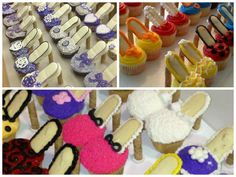 High Heel Cupcakes DIY High heel cupcakes! Pirouette cookies for the heel and Milano cookies for the shoes.