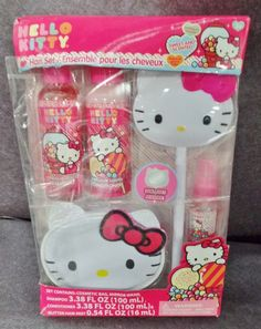 Description: Hello Kitty Hair Set Cosmetic Bag Mirror Wand Shampoo Conditioner Glitter Hair Ages 3 and Up/  Item ID: 87 TARGET