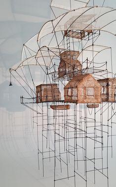 Invisible Cities, Artistic Installation, Steampunk Design, Art Sculpture, Le Far West, Miniature Houses, Wire Art, Art Plastique, Art And Architecture