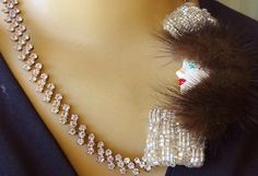 'Vtg Mink Flapper Girl  Deco Statement Necklace' is going up for auction at  4pm Fri, Aug 10 with a starting bid of $60. Gemstones For Sale, Mink, Pearl Necklace, Auction, Pearls, Deco, Diamond, Jewelry, String Of Pearls