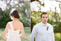 On her; simple but elegant up-do  On him; polished vintage hair