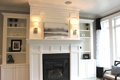 LOOOOVE This Fireplace surround mantel and wainscotting with built-ins. Faux fireplace/bookcase with tv above. Fireplace Bookcase, Fireplace Redo, Fireplace Built Ins, Farmhouse Fireplace, Fireplace Remodel, Fireplace Surrounds, Fireplace Design, Fireplace Mantels, Faux Fireplace