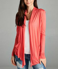 Take a look at this Bright Coral Pocket Sidetail Open Cardigan today!