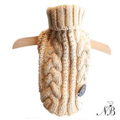 Cream Turtleneck Dog Sweater - Cream is the signature shade of chic and that's why we love it...  This luxury hand knit turtleneck dog sweater is so beautiful even you will want to wear it! It makes your dog look cute and protects your house from dog hair.  Chunky cable knit, soft, thick knit with stretch.
