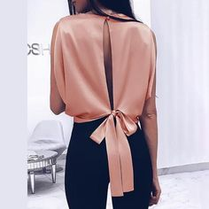 2019 Spring Women Fashion Alluring Elegant Party Shirt Female Sleeveless Solid Slit Knotted Back Casual Blouse – Bonnie Valentine - Touching and Emotional Image Pretty Outfits, Stylish Outfits, Fashion Outfits, Girl Outfits, Beautiful Outfits, Unique Outfits, Fashion Ideas, Classy Outfits, Fashion Clothes