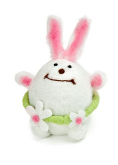 Wool Felted Girl Bunny with Floral Belt / Canal Deco