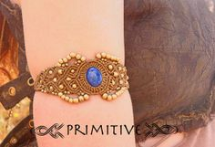 Made To Order Pixie Macrame Bracelet / Cuff with the Stone Lapis Lazuli and Brass Beads TRIBAL Jewelry