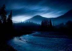 Winter night in the western Glacier  National Park, Montana USA