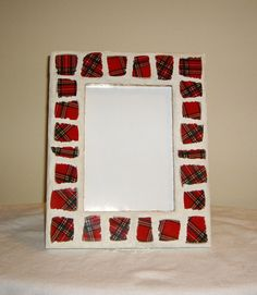 Holiday Red Plaid Mosaic Picture Frame by MosaicsEtcByLille, $25.00