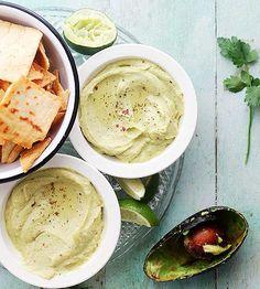 Guacamole meets hummus in this cool and creamy Feta Cheese Avocado Hummus Dip. Get the recipe here./