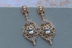 Gold Bridal Earrings Art Deco Earrings Great Gatsby 1920s  Crystal  Earrings Wedding Earrings Bridal Jewelry Teardrop Earrings  Jewellery