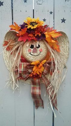 Fall scarecrow wreath.                                                       …