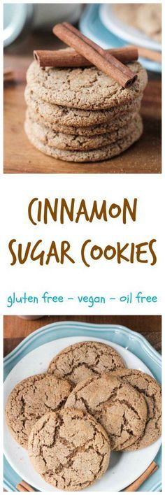 Cinnamon Sugar Cookies - These delicious easy cookies need only 6 ingredients and about 15 minutes to make. They are perfectly chewy on the inside, just sweet enough and bursting with cinnamon flavor. No oil, butter, dairy, gluten, or refined sugar!! You won't believe how yummy these healthy cookies are!