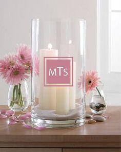 Personalized Wedding Monogram Vinyl Decals for Vases, glasses, mugs, candles… Candle Arrangements, Candle Centerpieces, Pillar Candles, Flower Arrangements, Unity Candle, Candle Decorations, Pink Candles, Candle Set, Centrepieces