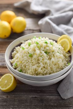 Lemon cauliflower rice is an easy, low carb side that is made in under 10 minutes! This healthy rice option is gluten free and paleo.