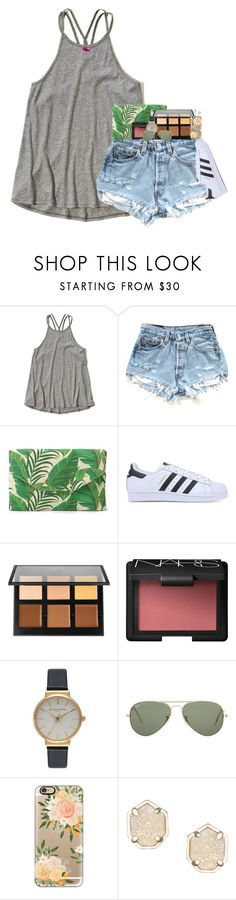 """summer is half way over..."" by evieleet ❤ liked on Polyvore featuring Hollister Co., Stella & Dot, adidas Originals, Anastasia Beverly Hills, NARS Cosmetics, Olivia Burton, Ray-Ban, Casetify and Kendra Scott"