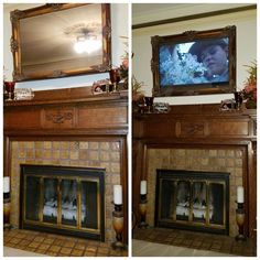 Incendio Dea: Disguise your TV as a mirror Two Way Mirror, Diy Mirror, Hide Tv Over Fireplace, Fireplace Bookshelves, Frame Around Tv, Best Tv Wall Mount, Mirrors Film, Tv Covers, Hidden Tv