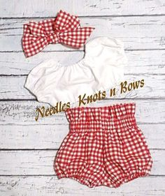 Girls 2 piece Red Gingham HIgh Waist Bloomers with a white crop top and your choice to add on a headwrap. This is available in sizes from Newborn upto a sizes 4 - Online Store Powered by StorenvyGirls Outfit, Red Gingham High Waist Bloomers with Whit Baby Outfits, Girls Summer Outfits, Summer Girls, Kids Outfits, Summer Clothes, Girls Wear, Newborn Girl Outfits, Summer Baby, Fashion Kids