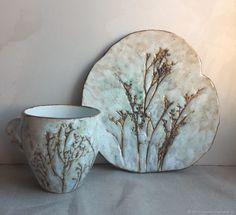 """Купить Чайная пара """"молочные травы"""" - белый, чайная пара, чашка с блюдцем, чашка для чая"""