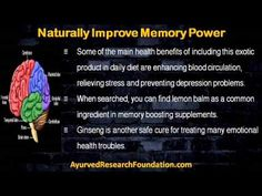This video describes about how can improve memory power naturally using herbal supplements. You can find more details about BrainOBrain capsule at http://www.ayurvedresearchfoundation.com