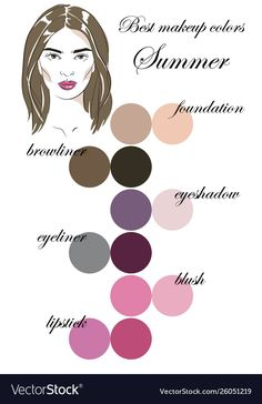 Best makeup colors for summer type appearance Vector Image - Cool Summer - Makeup Soft Summer Makeup, Summer Skin, Cool Skin Tone, Colors For Skin Tone, Soft Summer Color Palette, Summer Colors, Dark Summer, Get Free Makeup, Free Makeup Samples