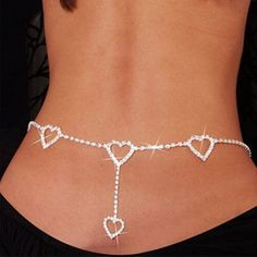 Fashion Rhinestone Heart to Heart Belly Chain