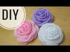 DIY || Cara mudah membuat mawar bakar | Tutorial Bloomy Rose With Chiffon | Fabric Flower - YouTube