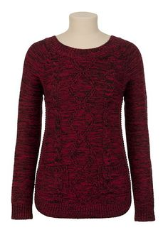 Cable Knit Mixed Yarn Sweater available at #Maurices