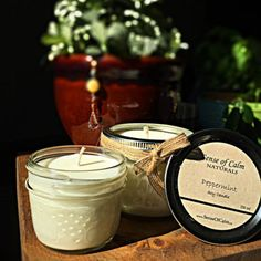 sense of calm naturals - soy candle - peppermint - side by side Cinnamon Bark Essential Oil, Ginger Essential Oil, Sweet Orange Essential Oil, Essential Oils, Soy Candles, Candle Jars, Organic Skin Care, Peppermint, Wax