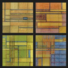These Frank Lloyd Wright coaster designs are based on a 1930's Taliesin Fellowship rug design.