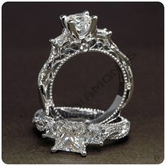 D/VVS1 Diamond Three Stone 14K White Gold Over Engagement Ring For Ladies #ElleDiamonds #ThreeStoneRing #EngagementWeddingAnniversary