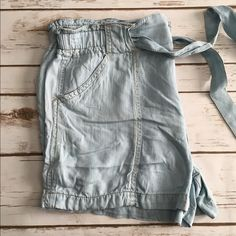 """Tied light weight jean shorts Very thin and incredibly soft material. Brand new! Size large but I'd say they can fit a size 10/12. Waist side to side measures 18"""". Length is 13"""" and inseam is 2.5"""".  Fit loose and are stretchy around the waist Shorts Jean Shorts"""