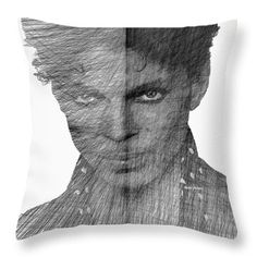 Prince - Immortal Tribute In Black And White Sketch  Throw Pillow by Rafael Salazar