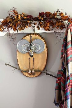 Rustic fall wood slice owl