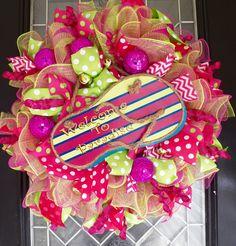 XL Dec Mesh Summer Flip Flop Wreath, Summer Decoration, Door Hanger, Front Door Wreath by OccasionsBoutique on Etsy