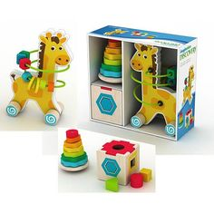 The Imaginarium Classic Wooden Toy Trio combines great value with 3 classic toys packed in a giftable box! The Imaginarium Classic Wooden Toy Trio includes:Rolling . Kids Store, Toy Store, Baby Calm, Toys R Us Canada, Wooden Baby Toys, All Toys, Learning Games, Christmas Presents, Toy Chest
