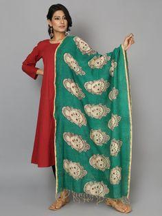 Green Face Chanderi Hand Painted Kalamkari Dupatta