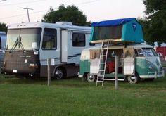 Camper Van with roof top tent.
