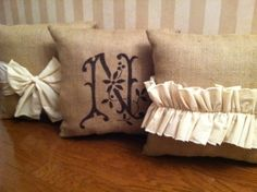 Burlap Pillows by Posh Petites Boutique. www.facebook.com/poshpetitesboutique